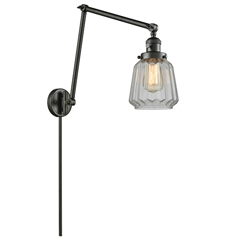 Innovations Lighting Chatham Oiled Rubbed Bronze 30-Inch LED Swing Arm Wall Sconce with Clear Fluted Novelty Glass