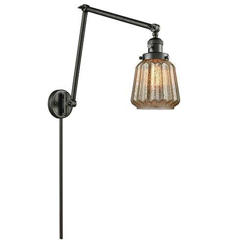Innovations Lighting Chatham Oiled Rubbed Bronze 30-Inch One-Light Swing Arm Wall Sconce with Mercury Fluted Novelty Glass