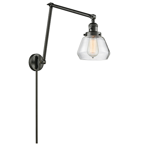 Fulton Oiled Rubbed Bronze 30-Inch LED Swing Arm Wall Sconce with Clear Sphere Glass