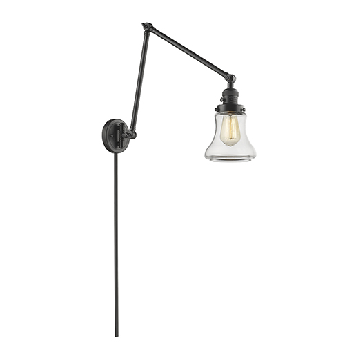 Innovations Lighting Bellmont Oiled Rubbed Bronze 30-Inch LED Swing Arm Wall Sconce with Clear Hourglass Glass