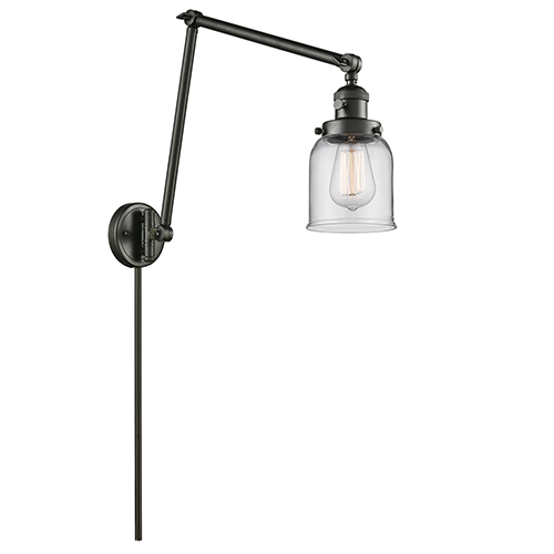 Innovations Lighting Small Bell Oiled Rubbed Bronze 30-Inch LED Swing Arm Wall Sconce with Clear Bell Glass