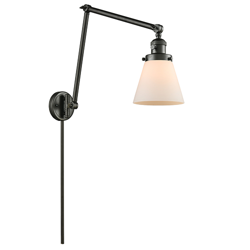 Innovations Lighting Small Cone Oiled Rubbed Bronze 30-Inch One-Light Swing Arm Wall Sconce with Matte White Cased Cone Glass