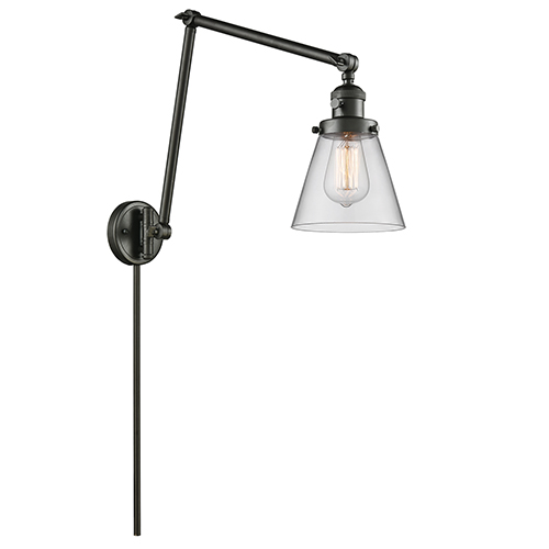 Innovations Lighting Small Cone Oiled Rubbed Bronze 30-Inch One-Light Swing Arm Wall Sconce with Clear Cone Glass