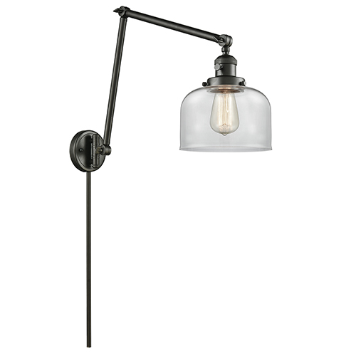 Innovations Lighting Large Bell Oiled Rubbed Bronze 30-Inch One-Light Swing Arm Wall Sconce with Clear Dome Glass