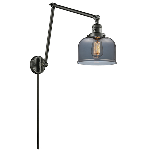 Innovations Lighting Large Bell Oiled Rubbed Bronze 30-Inch One-Light Swing Arm Wall Sconce with Smoked Dome Glass