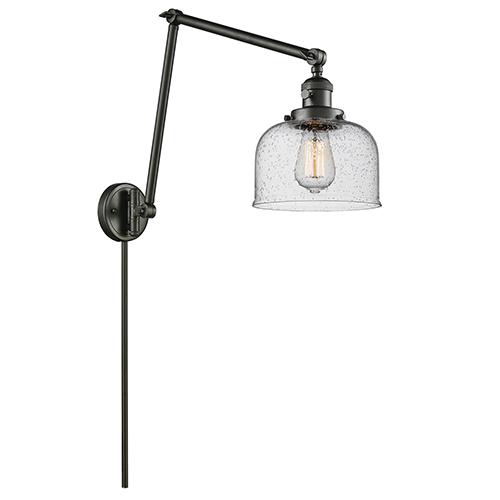 Innovations Lighting Large Bell Oiled Rubbed Bronze 30-Inch One-Light Swing Arm Wall Sconce with Seedy Dome Glass