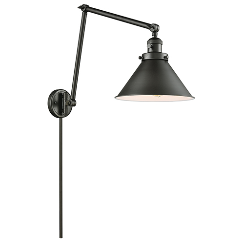 Briarcliff Oiled Rubbed Bronze 30-Inch One-Light Swing Arm Wall Sconce with Oil Rubbed Bronze Metal Shade