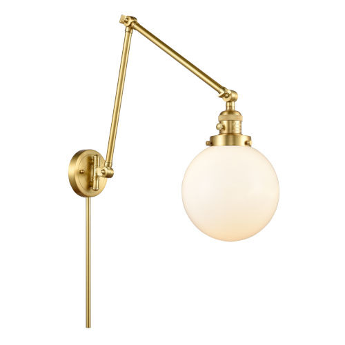 Franklin Restoration Satin Gold 30-Inch One-Light Swing Arm Wall Sconce with Matte White Cased Large Beacon Shade and Molded