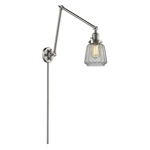 Chatham Brushed Satin Nickel 30-Inch One-Light Swing Arm Wall Sconce with Clear Fluted Novelty Glass