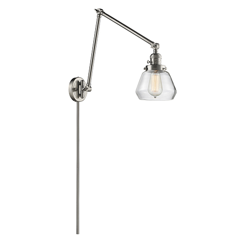 Innovations Lighting Fulton Brushed Satin Nickel 30-Inch One-Light Swing Arm Wall Sconce with Clear Sphere Glass