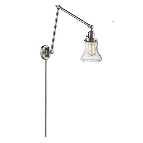 Innovations Lighting Bellmont Brushed Satin Nickel 30-Inch One-Light Swing Arm Wall Sconce with Seedy Hourglass Glass