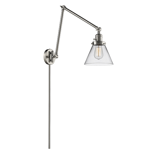 Innovations Lighting Large Cone Brushed Satin Nickel 30-Inch LED Swing Arm Wall Sconce with Clear Cone Glass
