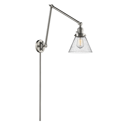 Innovations Lighting Large Cone Brushed Satin Nickel 30-Inch LED Swing Arm Wall Sconce with Seedy Cone Glass