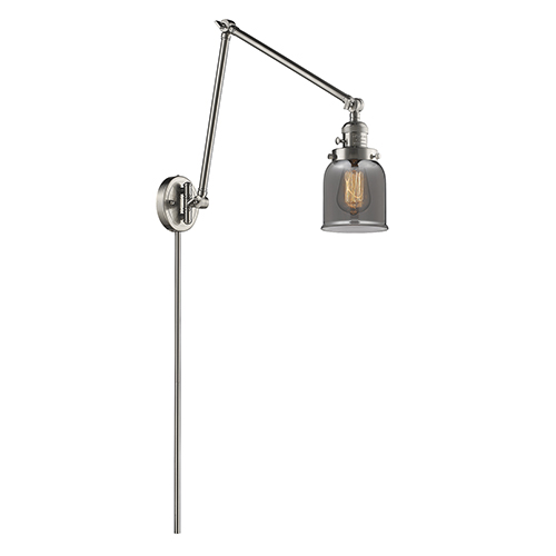 Small Bell Brushed Satin Nickel 30-Inch One-Light Swing Arm Wall Sconce with Smoked Bell Glass