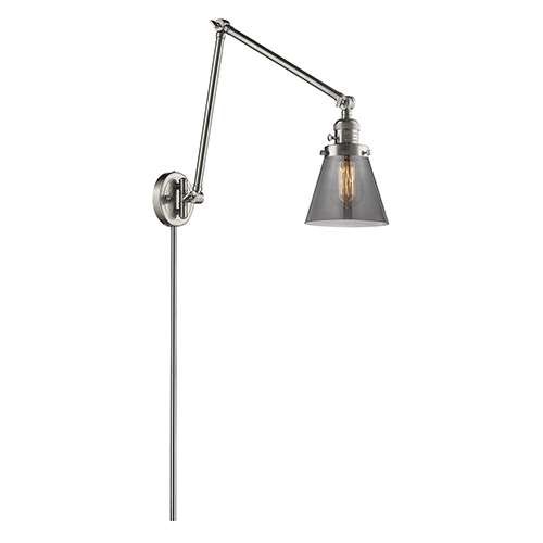 Innovations Lighting Small Cone Brushed Satin Nickel 30-Inch LED Swing Arm Wall Sconce with Smoked Cone Glass
