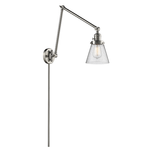 Nickel Brushed Swing Arm And Plug In Lamps Free Shipping