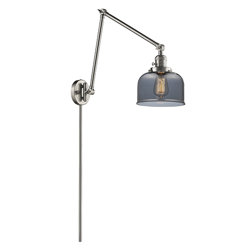 Innovations Lighting Large Bell Brushed Satin Nickel 30-Inch One-Light Swing Arm Wall Sconce with Smoked Dome Glass