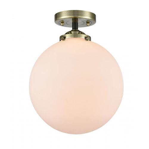 Nouveau Black Antique Brass 10-Inch LED Semi-Flush Mount with Seedy Globe Shade