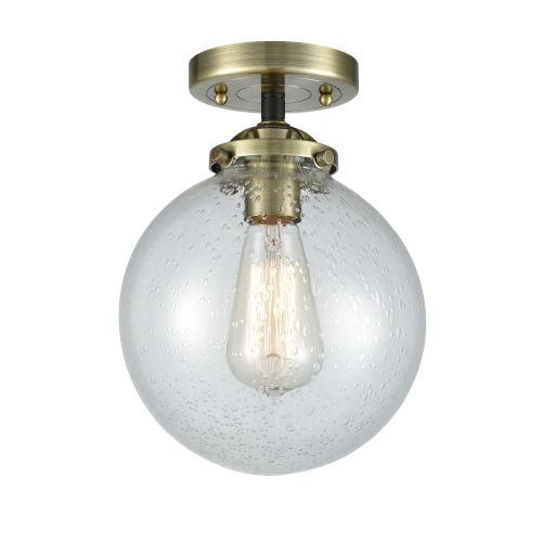 Large Beacon Black Antique Brass One-Light Semi Flush Mount with Seedy Glass