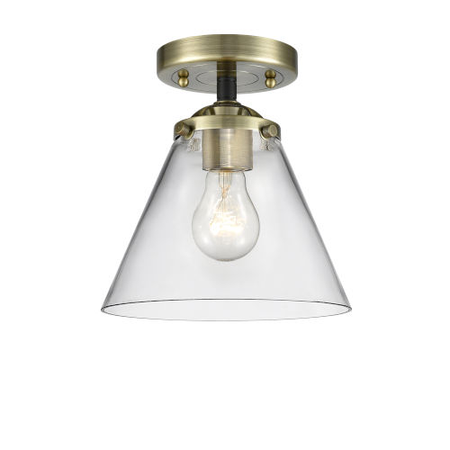 Nouveau Black Antique Brass Eight-Inch LED Semi-Flush Mount with Clear Large Cone Shade