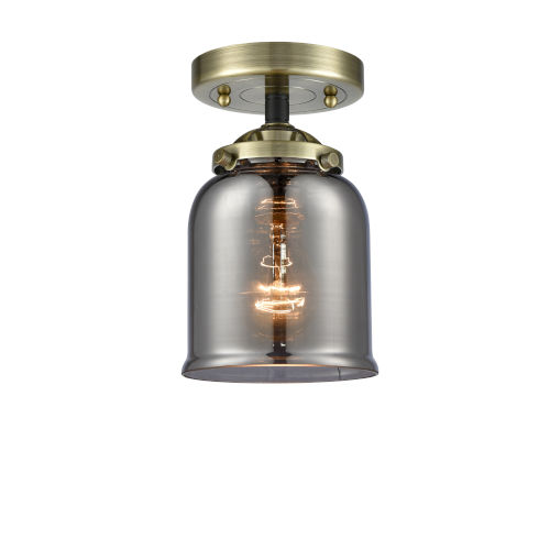 Nouveau Black Antique Brass Five-Inch LED Semi-Flush Mount with Plated Smoke Glass Shade