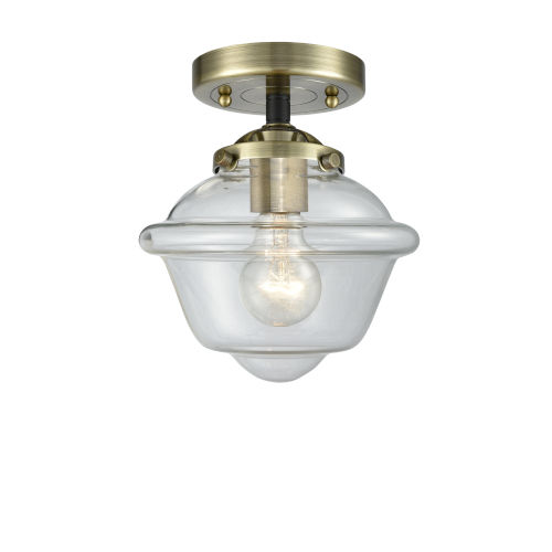 Nouveau Black Antique Brass Eight-Inch One-Light Semi-Flush Mount with Clear Small Oxford Shade