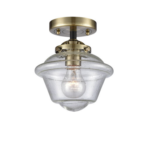 Nouveau Black Antique Brass Eight-Inch One-Light Semi-Flush Mount with Seedy Small Oxford Shade