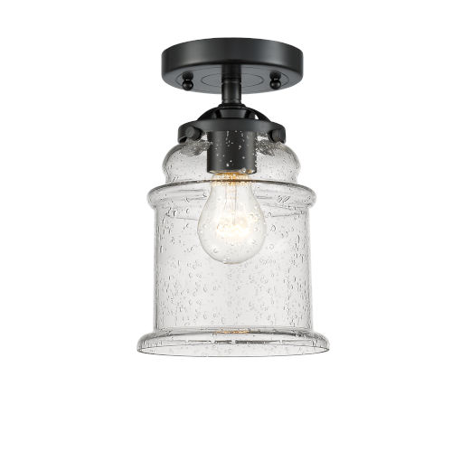 Nouveau Oil Rubbed Bronze Six-Inch One-Light Semi-Flush Mount with Seedy Glass Shade