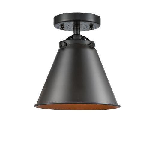 Nouveau Oil Rubbed Bronze Eight-Inch One-Light Semi-Flush Mount