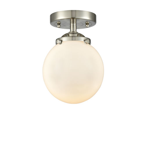 Nouveau Brushed Satin Nickel Six-Inch One-Light Semi-Flush Mount with Matte White Glass Shade