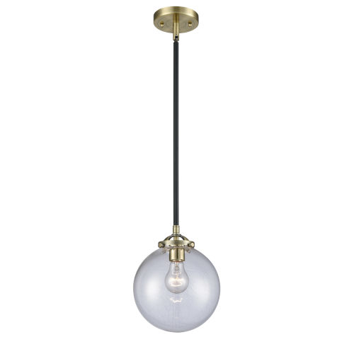 Nouveau Black Antique Brass Eight-Inch LED Mini Pendant with Clear Beacon Shade