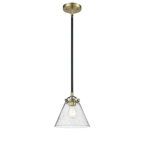 Nouveau Black Antique Brass Eight-Inch One-Light Mini Pendant with Seedy Large Cone Shade