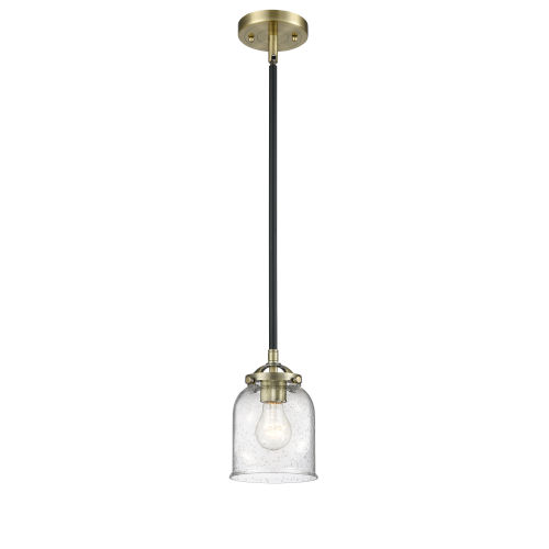 Nouveau Black Antique Brass Five-Inch One-Light Mini Pendant with Seedy Glass Shade