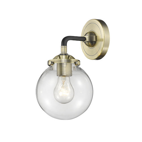 Beacon Black Antique Brass LED Wall Sconce with Clear Glass