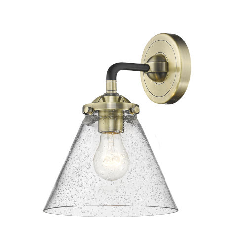 Nouveau Black Antique Brass Eight-Inch LED Wall Sconce with Seedy Large Cone Shade