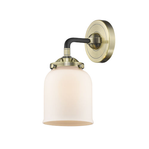 Nouveau Black Antique Brass Five-Inch One-Light Wall Sconce with Matte White Glass Shade