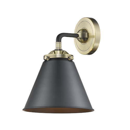 Nouveau Black Antique Brass Eight-Inch LED Wall Sconce with Matte Black Metal Shade
