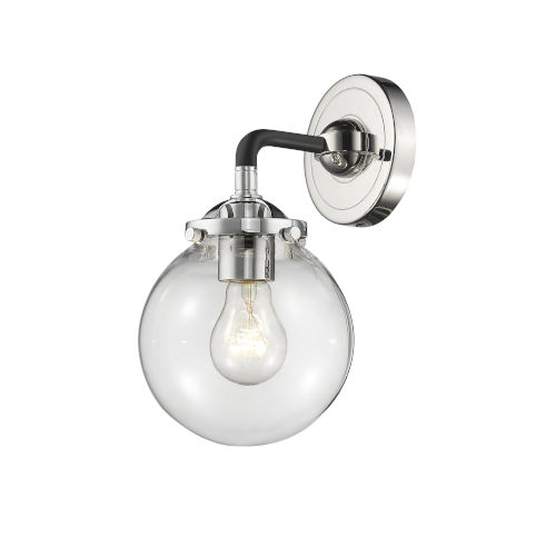 Beacon Black Polished Nickel One-Light Wall Sconce with Clear Glass