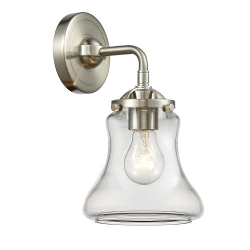Nouveau Brushed Satin Nickel Six-Inch One-Light Wall Sconce with Clear Bellmont Shade