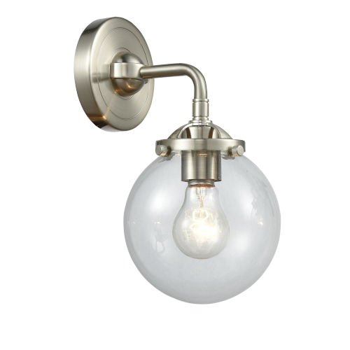 Beacon Brushed Satin Nickel One-Light Wall Sconce with Clear Glass