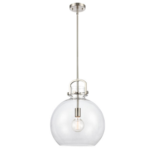 Newton Brushed Satin Nickel LED Pendant with Clear Sphere Glass