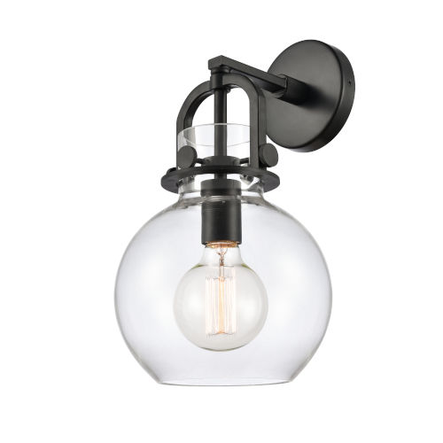 Newton Matte Black One-Light Wall Sconce with Clear Sphere Glass