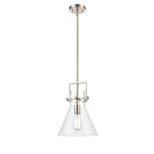 Newton Brushed Satin Nickel 14-Inch One-Light Pendant with Clear Cone Glass