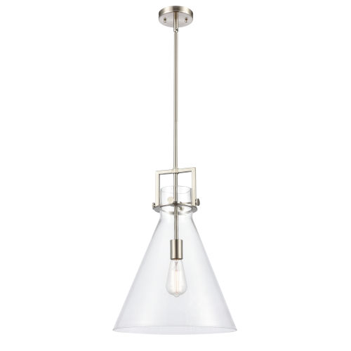 Newton Brushed Satin Nickel LED Pendant with Clear Cone Glass