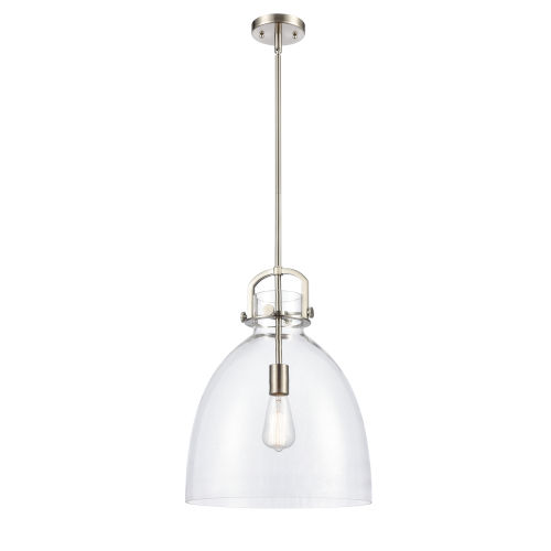 Newton Brushed Satin Nickel One-Light Pendant with Clear Dome Glass