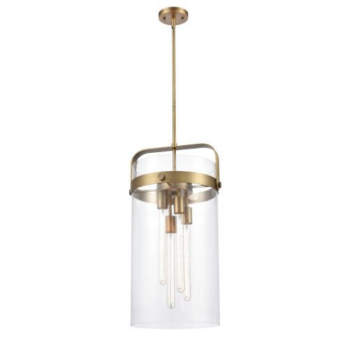 Pilaster Brushed Brass Four-Light LED Pendant