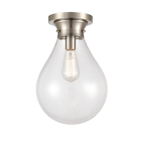 Genesis Satin Nickel 10-Inch One-Light Flush Mount with Clear Glass Shade