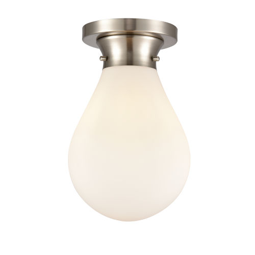 Genesis Satin Nickel Eight-Inch One-Light Flush Mount with White Glass Shade