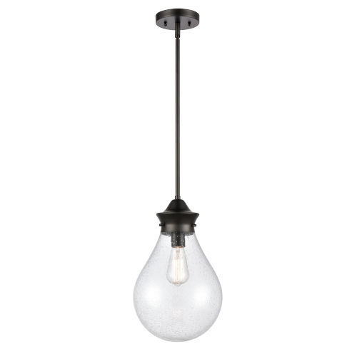 Genesis Matte Black 10-Inch LED Pendant with Seedy Glass Shade