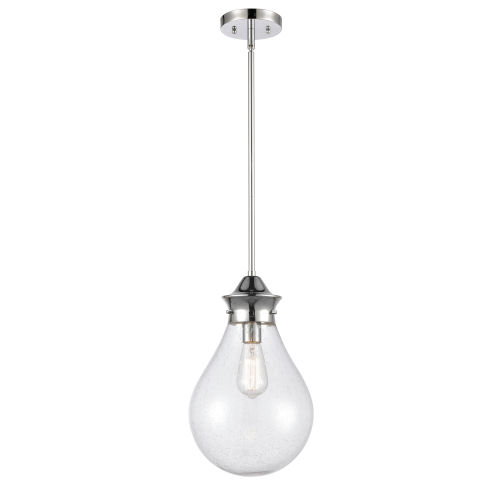 Genesis Polished Chrome 10-Inch One-Light Pendant with Seedy Glass Shade